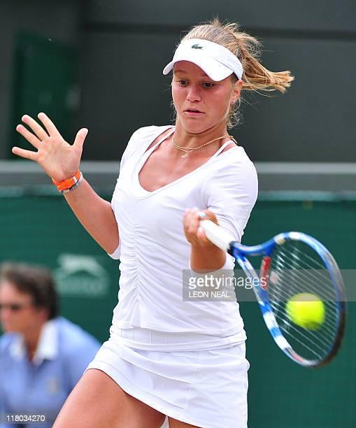 Russian player Irina Khromacheva plays against Australian player Ashleigh Barty during Girls' Singles final the Wimbledon Tennis Championships at the...
