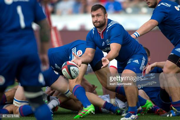 Russian player passes during the United States vs Russia rugby match at Dick's Sporting Goods Park in Denver CO on June 9 2018
