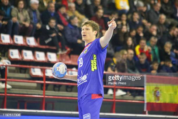 Russian player Pavel Atman with the ball during the first day of the XLV International Tournament of Spain 2020 between Poland and Russia with...