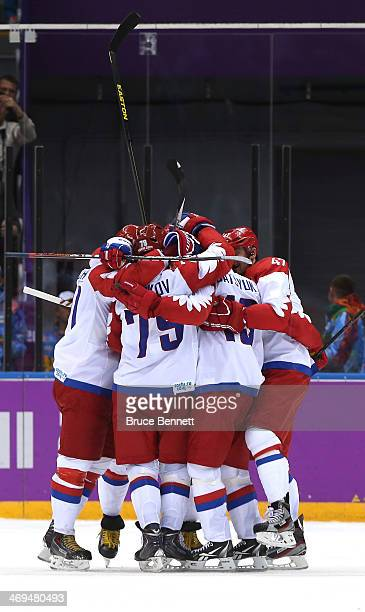 Russian players celebrate after teammate Pavel Datsyuk of Russia scored a thirdperiod goal against the United States during the Men's Ice Hockey...