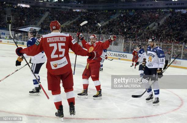 Russian players celebrate their 5 to 0 victory during the Channel One Cup of the Euro Hockey Tour ice hockey match between Russia and Finland at the...
