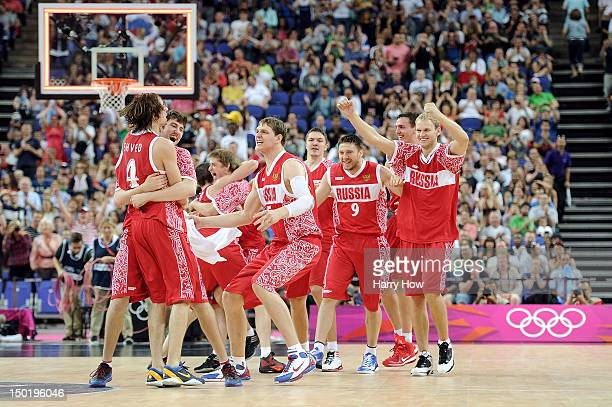 Russian players celebrate winning during the Men's Basketball bronze medal game between Russia and Argentina on Day 16 of the London 2012 Olympics...