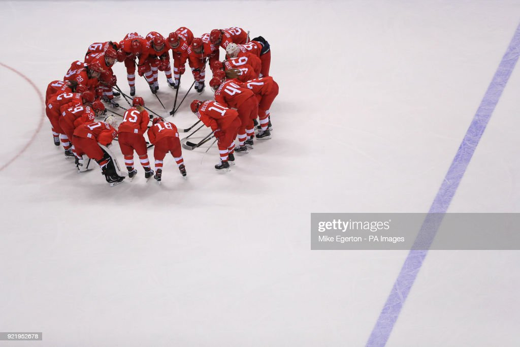 Russian players go into a huddle after losing to Finland in a bronze medal match in the Women's Ice Hockey at the Kwandong Hockey Centre during day twelve of the PyeongChang 2018 Winter Olympic Games in South Korea.