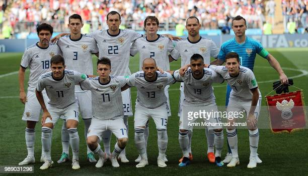 Russian players poses for team photo during the 2018 FIFA World Cup Russia Round of 16 match between Spain and Russia at Luzhniki Stadium on July 1...