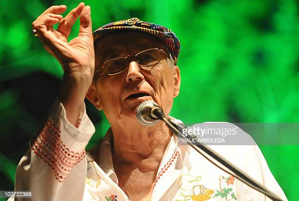Russian poet novelist and literature professor Yevgeny Yevtushenko attends the opening of the 20th International Poetry Festival in Medellín...
