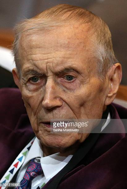 Russian Poet Yevgeniy Yevtushenko attends the closing ceremony of the Year of Literature December 2015 in Saint Petersburg Russia Putin is having a...