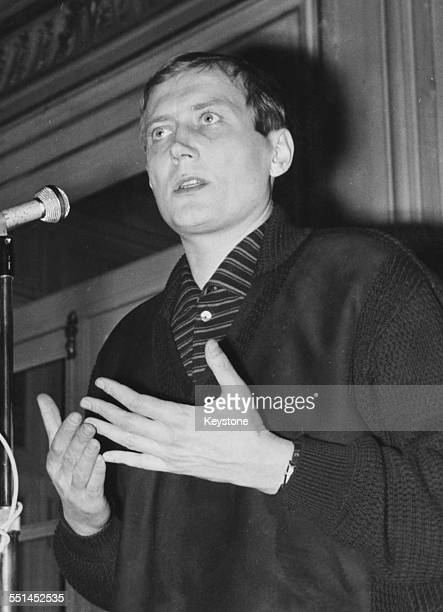 Russian poet Yevgeny Yevtushenko speaking at a press conference in Paris circa 1965
