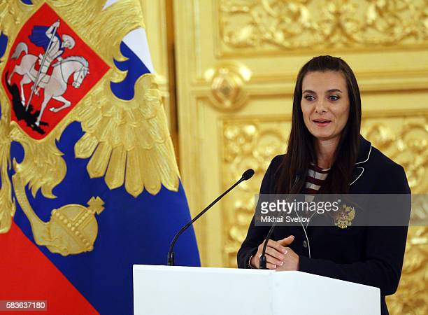 Russian pole vaulter Yelena Isinbayeva speaks during a meeting with the Russian national Olympic team including those prohibited to participate Rio...