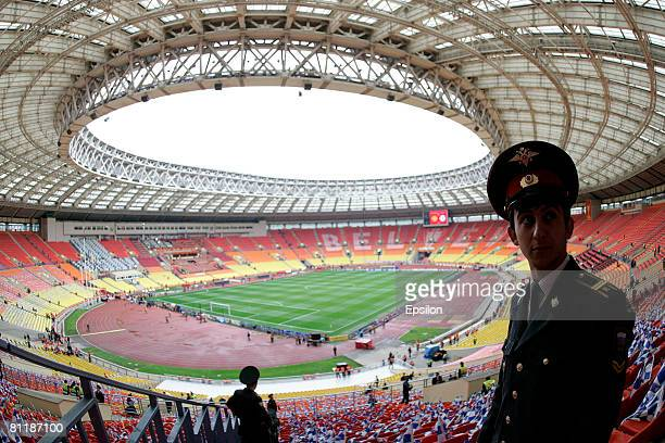 Russian police cadets guard the Luzhniki stadium for the Champions League Final match between Chelsea and Manchester United on May 21 2008 in Moscow...