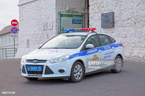 russian police car in kazan - gwengoat stock pictures, royalty-free photos & images