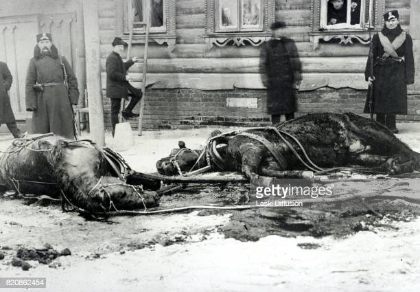 Russian police officers at the site of an assassination attempt on Tsar Nicholas II Romanov Russia 1908