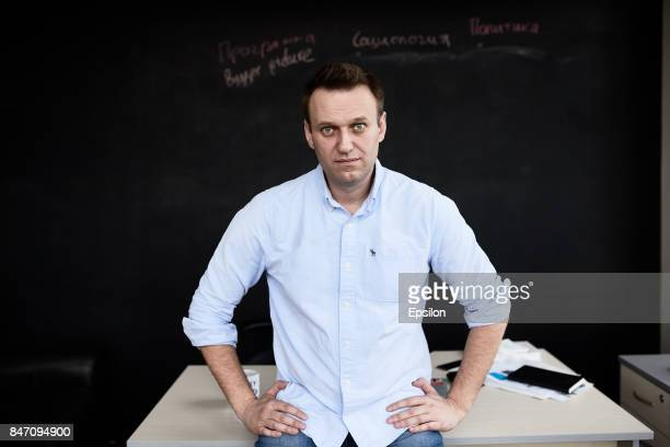 Russian politician Alexey Navalny in his office on April 11, 2017 in Moscow, Russia.