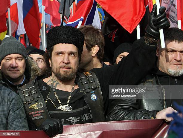 Russian politician and President of Night Wolves bikers club Alexander Zaldostanov also known as 'Khirurg' attends a rally organised by ProKremlin...
