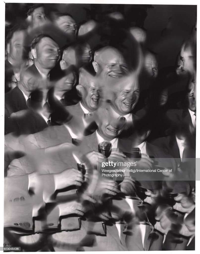 Russian politician and Soviet Premier Nikita Khrushchev (1894 - 1971) (center) smiles as he shares a toast with American politician and US Vice President (and future US President) Richard Nixon (1913 - 1994) (extreme right) during the American National Exhibition in Sokoliniki Park, Moscow, Russia, July 24, 1959. (Photo by Weegee (Arthur Fellig)/International Center of Photography/Getty Images)