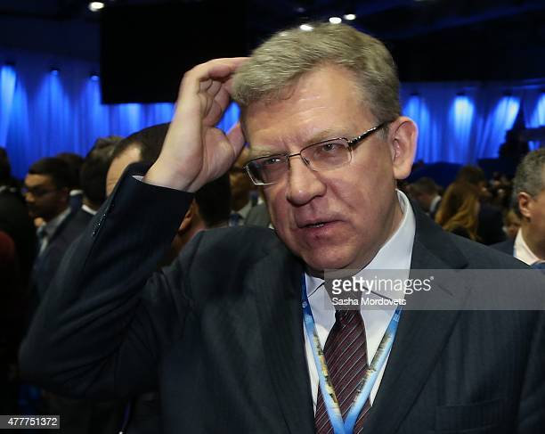 Russian politician economist and former Finance Minister Alexei Kudrin attends the plenary session of the St Petersburg Economic Forum in June 19...