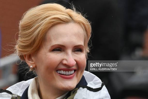 Russian politician Irina Yarovaya attends the Victory Day military parade at Red Square in Moscow on May 9, 2021. - Russia celebrates the 76th...