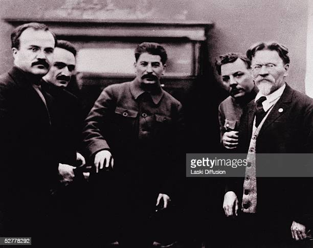 Russian politicians left to right Vyacheslav Molotov Anastas Mikoyan Communist Party Leader Josef Stalin People's Commissar of Defence Marshal...
