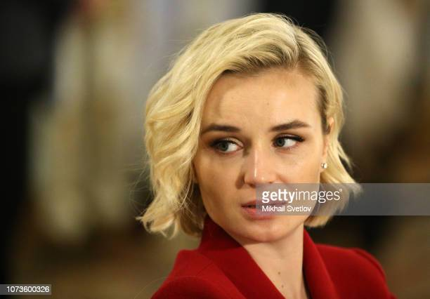 Russian pop singer Polina Gagarina looks on during the meeting with members of Presidential Council on Culture at Konstantin Palace in Strelna Saint...
