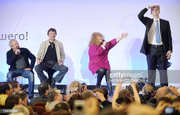 Russian pop star singer Alla Pugacheva actor Leonid Yarmolnik and rock musician Andrey Makarevich attend a pressconference of a presidential...