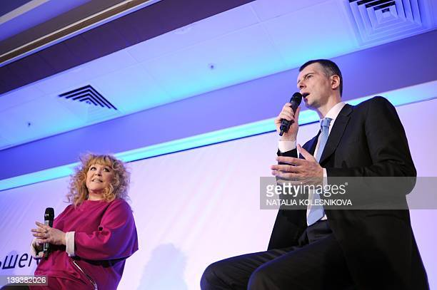 Russian pop star singer Alla Pugacheva attends a pressconference of presidential candidate metals tycoon and US basketball team owner Mikhail...