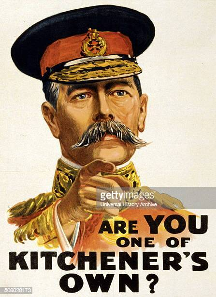 Russian poster shows portrait of Lord Kitchener pointing his finger Dated 1915 Photo by