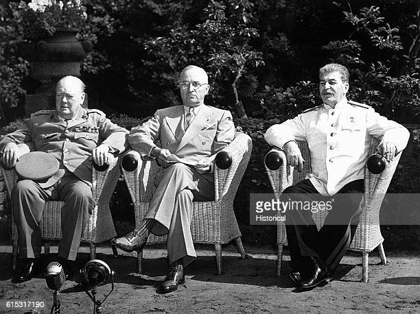 Russian Premier Josef Stalin Prime Minister Winston Churchill and President Harry Truman meet at Potsdam Germany in July 1945 They met to discuss the...