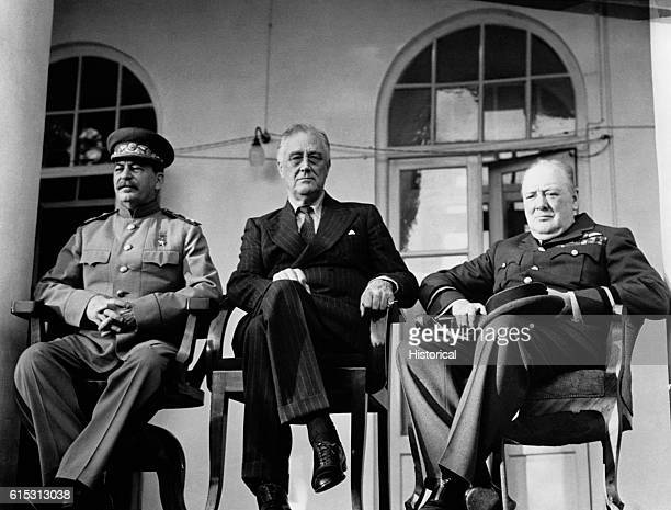 Russian Premier Joseph Stalin American President Franklin Roosevelt and British Prime Minister Winston Churchill meet at Tehran Iran in late 1943 to...
