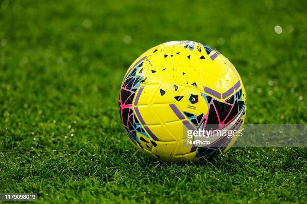 Russian Premier League official ball is seen on the pitch during the Russian Cup Last 16 match between Zenit St Petersburg and FC Tom Tomsk on...