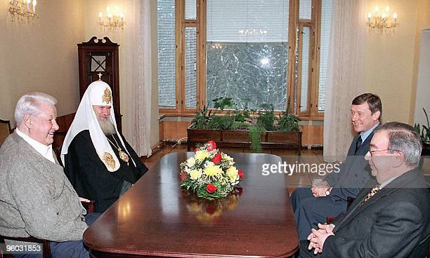 Russian President Boris Yeltsin receives the congratulations from the Patriarch of Moscow and All Russia Alexi II, the president's administration...