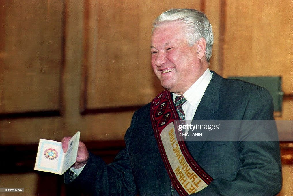 Russian President Boris Yeltsin shows a : News Photo
