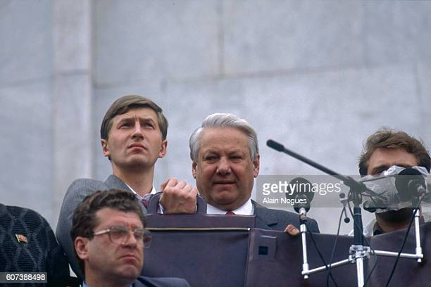 Russian President Boris Yeltsin speaks at the balcony of the Russian White House after a 1991 coup attempt is thwarted. The State Committee for the...