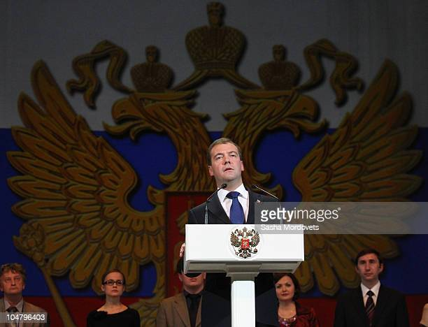 Russian President Dmitry Medvedev addresses education officials on National Teachers' Day at the Kremlin October 5 2010 in Moscow Russia Medvedev...