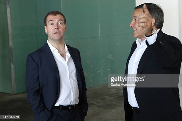 Russian President Dmitry Medvedev and billionaire Aras Agalarov visiting the newly built Far Eastern State University complex at Russky Island on...
