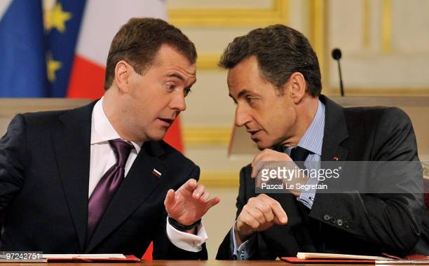 Russian President Dmitry Medvedev and French President Nicolas Sarkozy attend a press conference following their meeting at Elysee Palace on March 1...