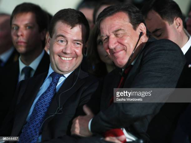 Russian President Dmitry Medvedev and Head of the Nord Stream Former German Chancellor Gerhard Schroeder attend a ceremony to mark the beginning of...