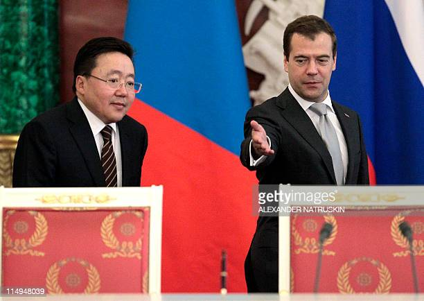 Russian President Dmitry Medvedev and his Mongolian counterpart Tsakhiagiin Elbegdorj give a press conference at the Kremlin in Moscow on May 31,...