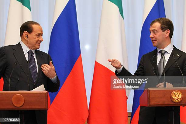 Russian President Dmitry Medvedev and Italian Prime Minister Silvio Berlusconi hold a joint press conference at Krasnaya Polyana resort on December 3...