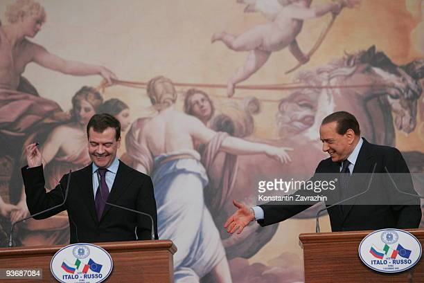 Russian President Dmitry Medvedev and Italian Prime Minister Silvio Berlusconi attend a joint press conference at Villa Madama on December 3 2009 in...
