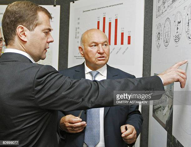 Russian President Dmitry Medvedev and Moscow Mayor Yury Luzhkov visit a new metro station on September 7 2008 in Moscow The defence Moscow mounted...