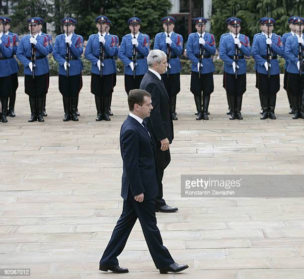 Russian President Dmitry Medvedev and Serbian President Boris Tadic take part in a wreath laying ceremony on October 20, 2009. The Russian President...