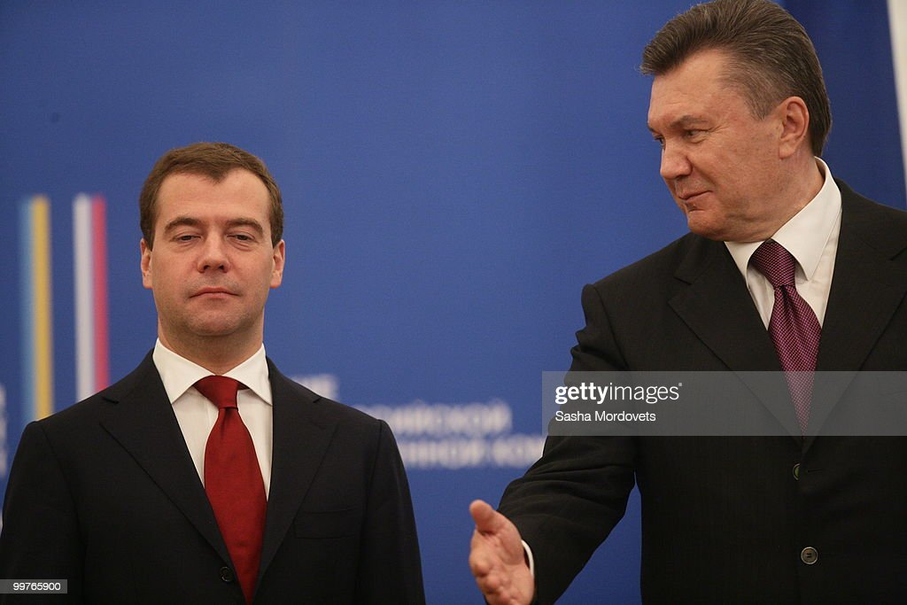 Russian President Dmitry Medvedev (L) and Ukraine's President Viktor Yanukovych attend a meeting at the Presidential administration on May 17, 2010 in Kiev, Ukraine. Medvedev is in the Ukraine as part of a two-day state visit to improve relations with the former Soviet republic and hammer out a series of agreements with the recently elected Ukrainian President Viktor Yanukovych.