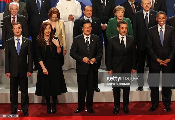 Russian President Dmitry Medvedev, Argentina's President Cristina Kirchner, China Prime Minister Hu Jintao, French President Nikolas Sarkozy and...