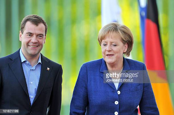 Russian President Dmitry Medvedev arrives for talks with German Chancellor Angela Merkel at Meseberg Palace the government's official residence in...