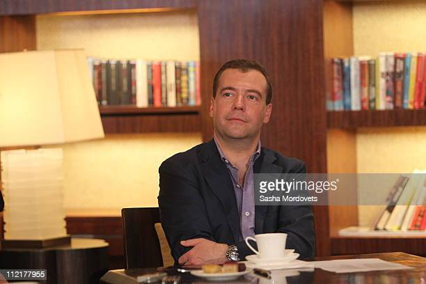 Russian President Dmitry Medvedev attends a briefing during the BRICS Summit at the Ritz Hotel in Sanya on April 2011 in Hainan Province China BRICS...