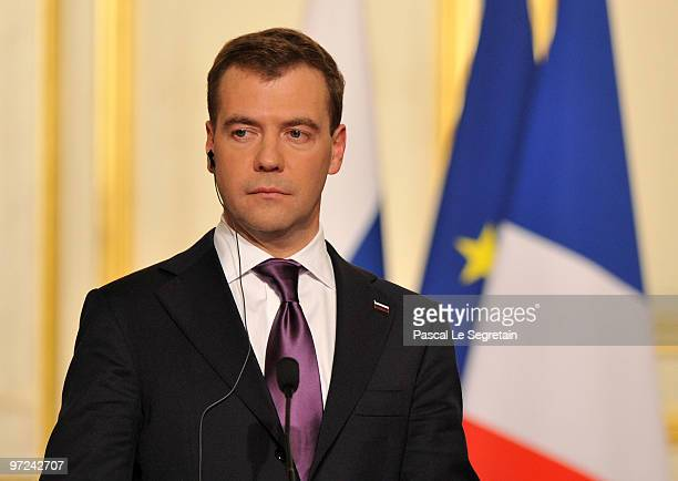 Russian President Dmitry Medvedev attends a press conference with French President Nicolas Sarkozy after their meeting at Elysee Palace on March 1...