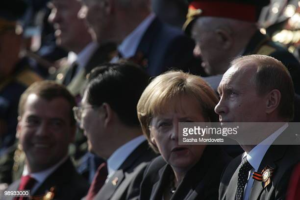 Russian President Dmitry Medvedev China's President Hu Jintao German Chancellor Angela Merkel Russian Prime Minister Vladimir Putin attend the...