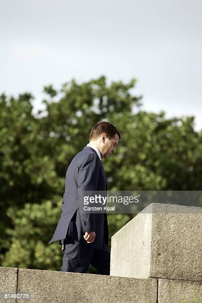 Russian President Dmitry Medvedev climbs the steps to lay down flowers at the soviet war memorial on June 5 2008 in Berlin Germany It is Medvedevs...