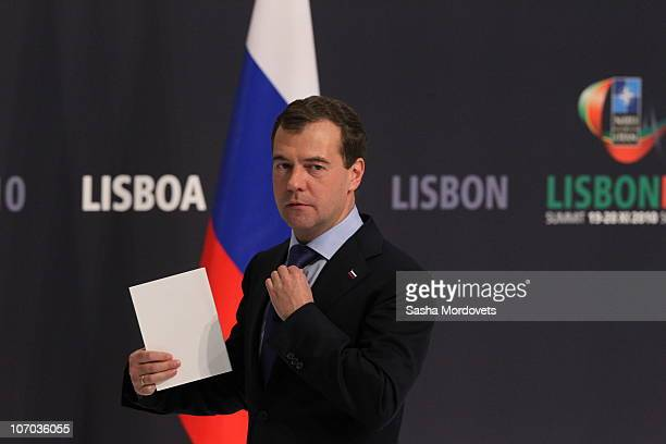 Russian President Dmitry Medvedev delivers a speech during a press conference during day two of the NATO Summit at Feira Internacional de Lisboa on...