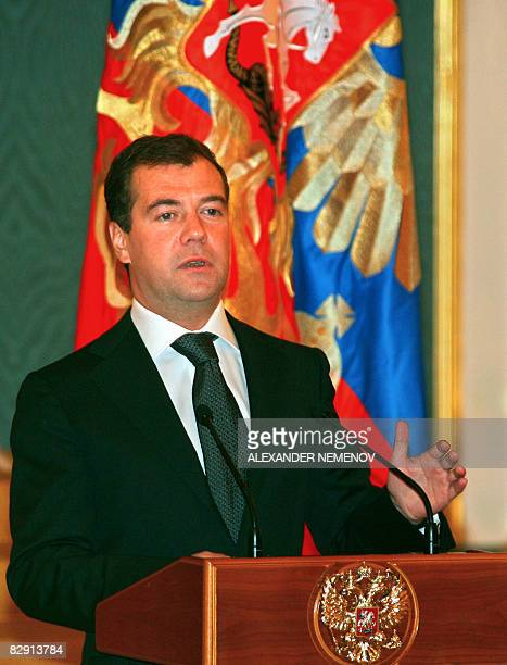 Russian President Dmitry Medvedev delivers a speech during his meeting with participants of the 2008 Beijing Paralympic Games in Moscow on September...