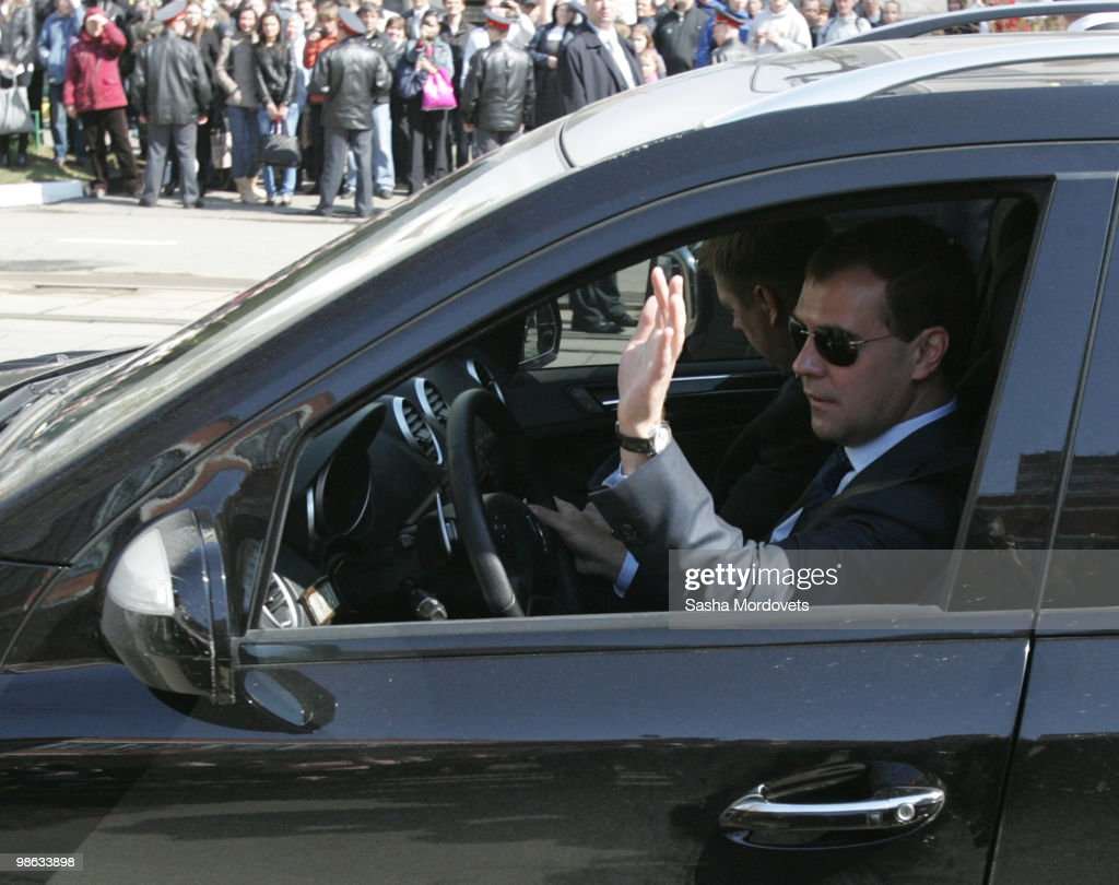 Russian President Dmitry Medvedev drives his Mercedes ML after visiting a school on April 23, 2010 in Moscow, Russia.